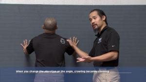 Mark Cheng, Jimmy Yuan against a wall, crawling becomes climbing